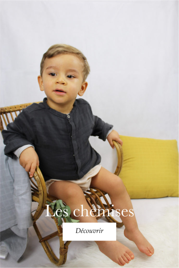 Chemise May gris anthracite coton bio organic cotton bébé enfant kids ethique lange swaddle sustainable cadeau naissance made in France fabrication française -Lebôme