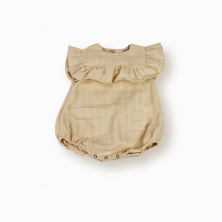 Barboteuse Nina beige poudre coton bio organic cotton bébé enfant lange swaddle kids made in France-Lebôme