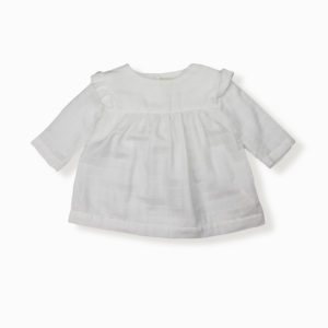 Blouse Ivy blanc coton bio organic cotton bébé enfant kids ethique lange swaddle sustainable made in France fabrication française -Lebôme