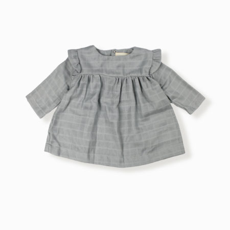 Blouse Ivy gris clair coton bio organic cotton bébé enfant kids ethique lange swaddle sustainable made in France fabrication française -Lebôme