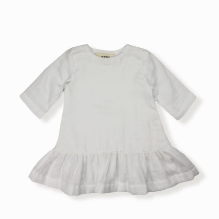 Robe Lilly blanc coton bio organic cotton bébé enfant kids ethique lange swaddle sustainable made in France fabrication française -Lebôme