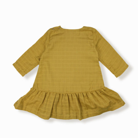Robe Lilly moutarde coton bio organic cotton bébé enfant kids ethique lange swaddle sustainable made in France fabrication française -Lebôme