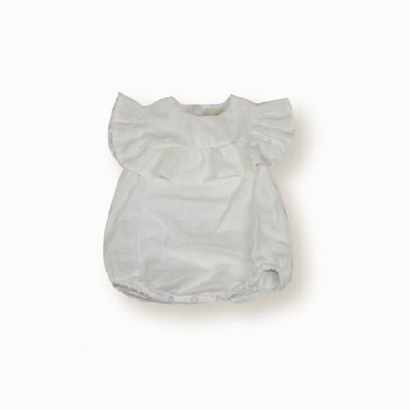 Barboteuse Nina blanc coton bio organic cotton bébé fille enfant lange swaddle kids made in France-Lebôme