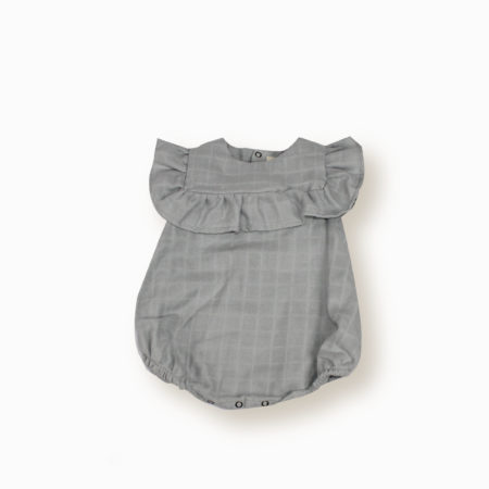 Barboteuse Nina gris bleuté coton bio organic cotton bébé enfant fille lange swaddle kids made in France-Lebôme